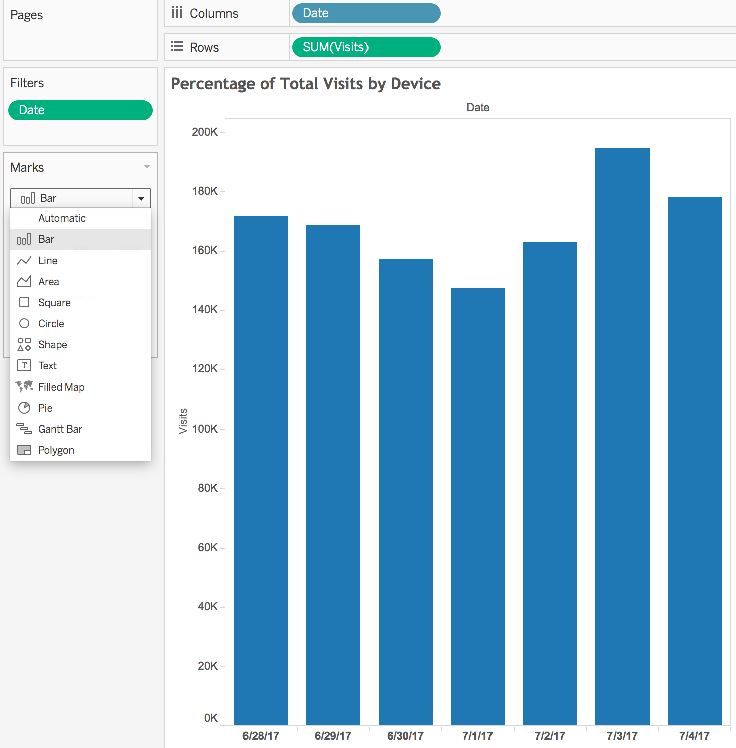 How to create a stacked bar chart that adds up to 100% in